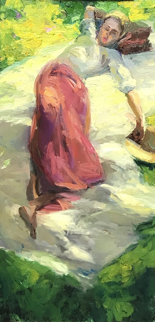 An original plein air, figurative oil painting titled Afternoon Nap by Kelli Folsom