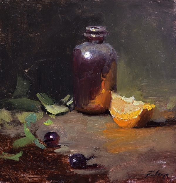An original oil painting of a still life titled Amber and Oranges by Kelli Folsom