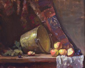 An original oil painting of a still life titled Apple Butter Bucket by Kelli Folsom