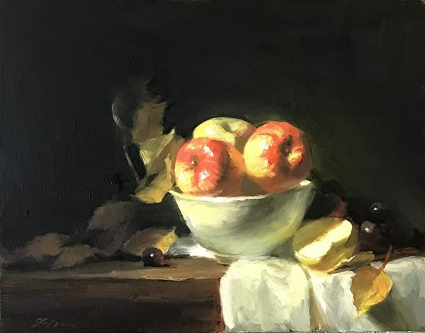 An original oil painting of a still life titled Apples in a White Bowl by Kelli Folsom