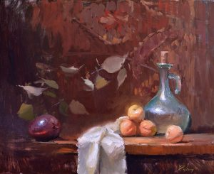 An original oil painting of a still life titled Apricots, a Mango and a Cruet by Kelli Folsom