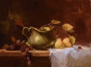 An original oil painting of a still life titled Autumn Pears by Kelli Folsom
