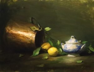 An original oil painting of a still life titled Copper and Lemons by Kelli Folsom
