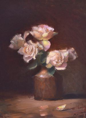 An original oil painting of a still life titled Cottage Roses in Copper by Kelli Folsom