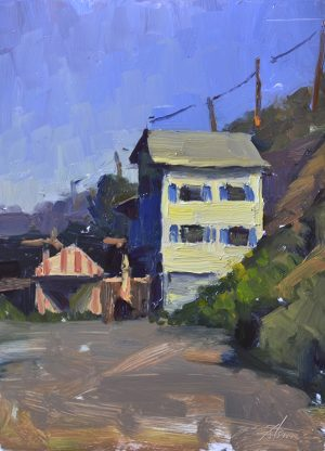 An original oil painting of a plein air landscape titled Crystal Cove Cottages by Kelli Folsom
