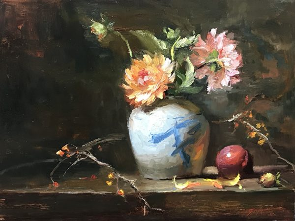An original oil painting of a still life titled Dahlias and Bittersweet by Kelli Folsom