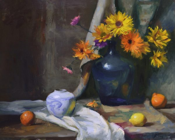 An original oil painting of a still life titled Daisies and Blue by Kelli Folsom