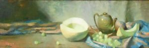 An original oil painting of a still life titled Sweet Honeydew Melon and Tea by Kelli Folsom