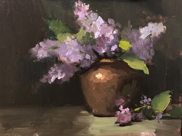 An original oil painting of a still life titled Lilacs by Kelli Folsom