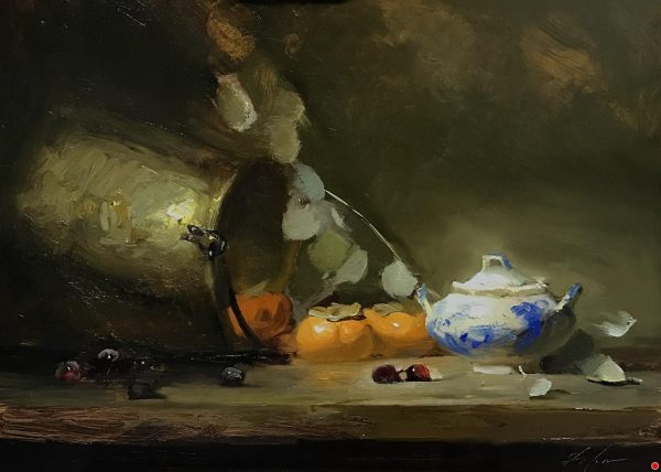 An original oil painting of a still life titled Persimmons and a Sugar Jar by Kelli Folsom
