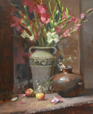 An original oil painting of a still life titled Pink Gladiolus by Kelli Folsom