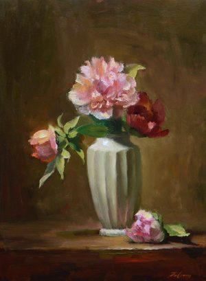 An original oil painting of a still life titled Pretty Peonies by Kelli Folsom