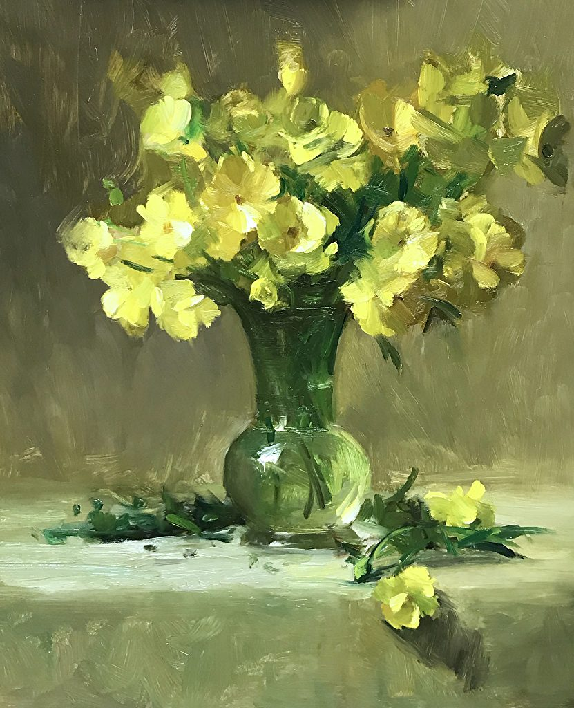 Spring Buttercups, oil on panel