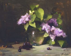 An original oil painting of a still life titled Spring Lilacs by Kelli Folsom