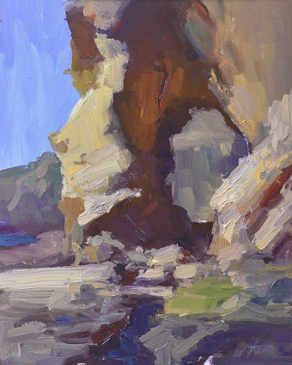 """Treasure Island Rock, Oil on Panel, 14"""" x 11"""""""
