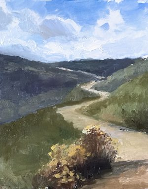 An original oil painting of a plein air landscape titled Uphill Climb by Kelli Folsom