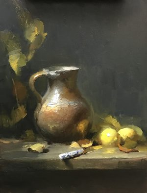 An original oil painting of a still life titled When Life Gives You Lemons by Kelli Folsom