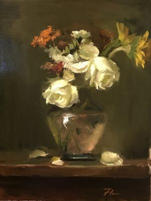 An original oil painting of a still life titled White Roses in Glass by Kelli Folsom