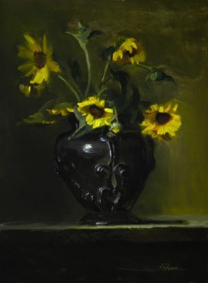 An original oil painting of a still life titled Wild Field Sunflowers by Kelli Folsom