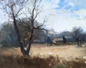 An original oil painting of a plein air landscape titled Winter Field by Kelli Folsom