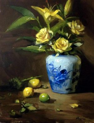 An original oil painting of a still life titled Yellow Roses in Blue Jar by Kelli Folsom