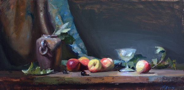 An original oil painting of a still life titled A Cordial Party by Kelli Folsom