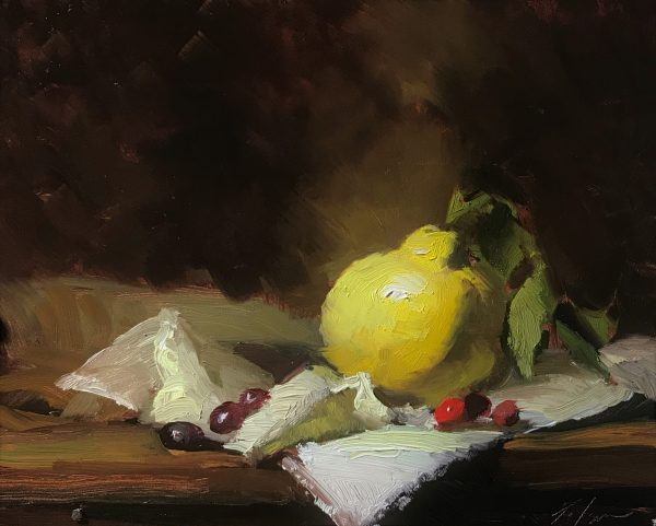An original oil painting of a still life titled Quince and Cranberries by Kelli Folsom