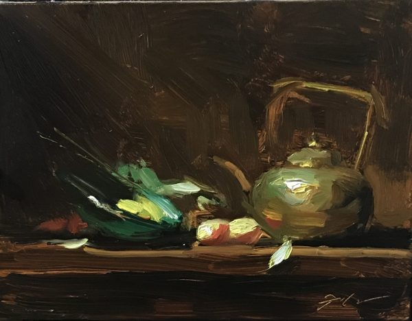 An original oil painting of a still life titled Apples and Tea by Kelli Folsom