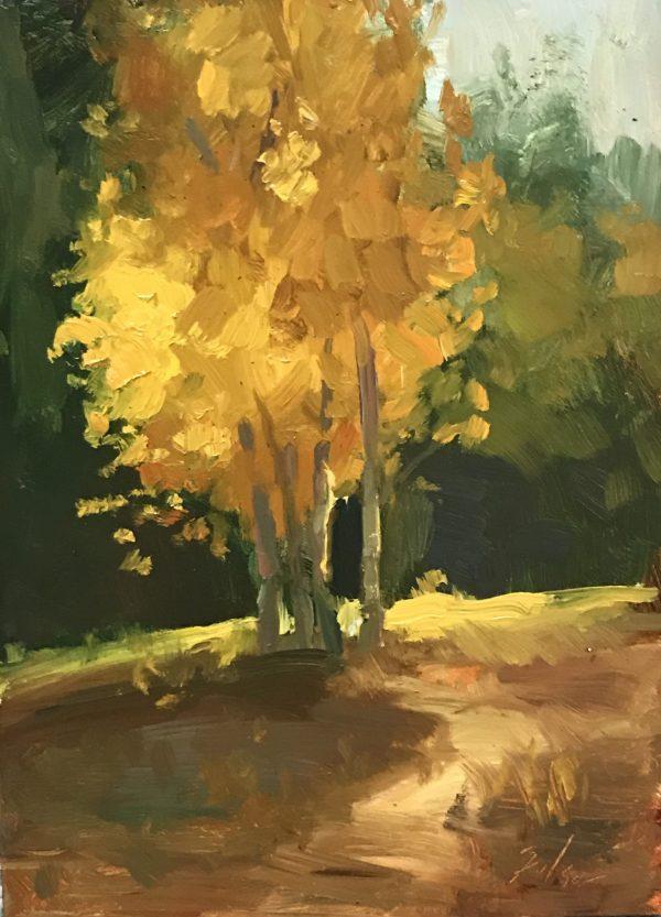 An original oil painting of a still life titled Aspen Glow by Kelli Folsom