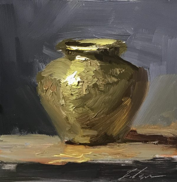 An original oil painting of a still life titled Brass Pot by Kelli Folsom