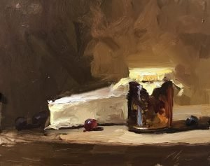 An original oil painting of a still life titled Brie and Pepper Jelly by Kelli Folsom