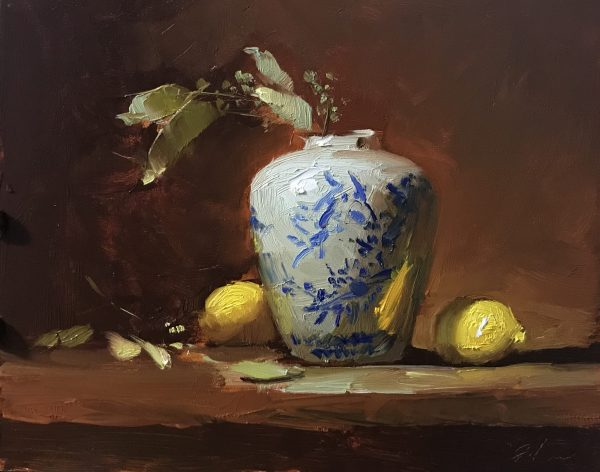 An original oil painting of a still life titled Cherry Blossom Ginger Jar by Kelli Folsom