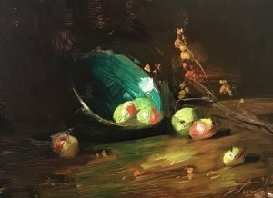 An original oil painting of a still life titled Crab Apples and Green Bowl by Kelli Folsom