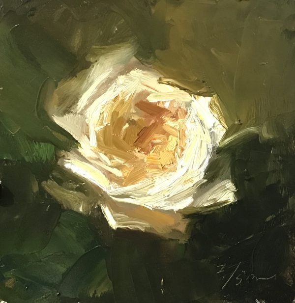 An original oil painting of a still life titled Ivory Rose by Kelli Folsom