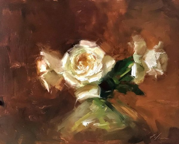 An original oil painting of a still life titled O'Hara Rose Vignette by Kelli Folsom