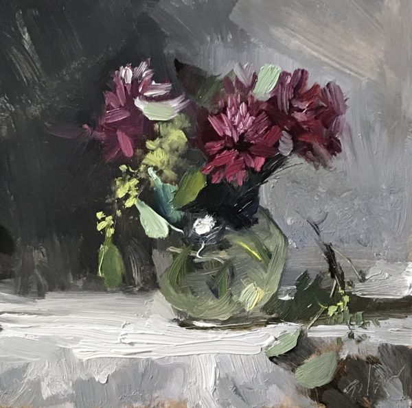 An original oil painting of a still life titled Purple Poms by Kelli Folsom