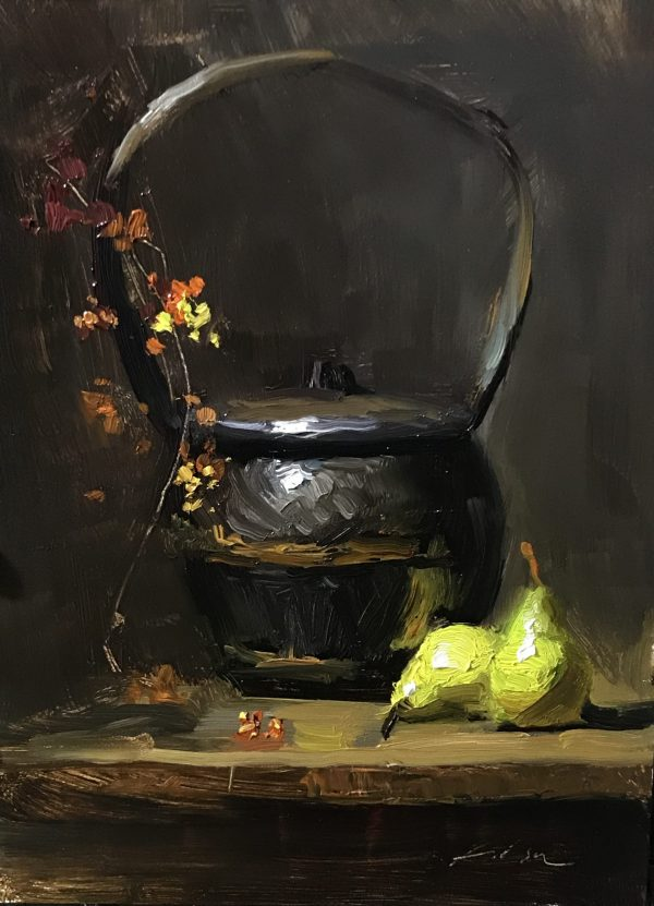 An original oil painting of a still life titled Rice Basket and Pears by Kelli Folsom