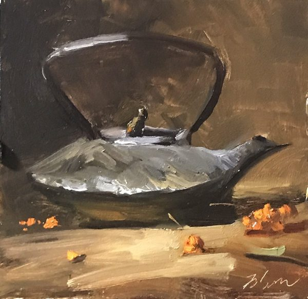 An original oil painting of a still life titled Tea Kettle and Berries by Kelli Folsom