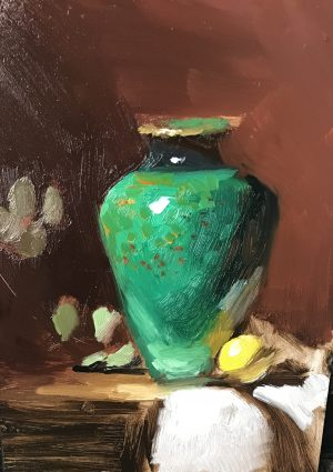 An original oil painting of a still life titled The Green Jardiniere by Kelli Folsom