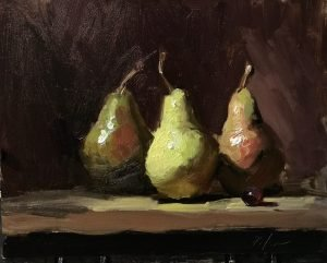 An original oil painting of a still life titled Three Graces by Kelli Folsom