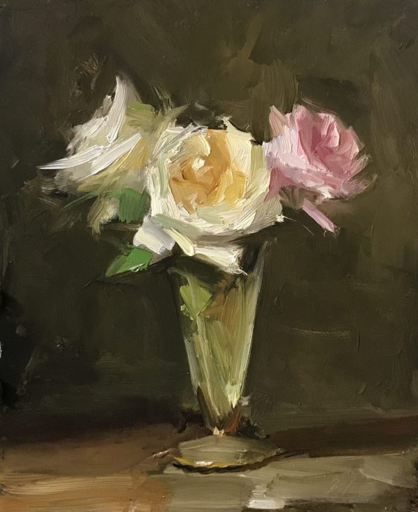 An original oil painting of a still life titled Valentines Roses by Kelli Folsom