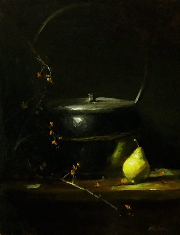 An original oil painting of a still life titled Rice Basket, Bittersweet and Pear by Kelli Folsom