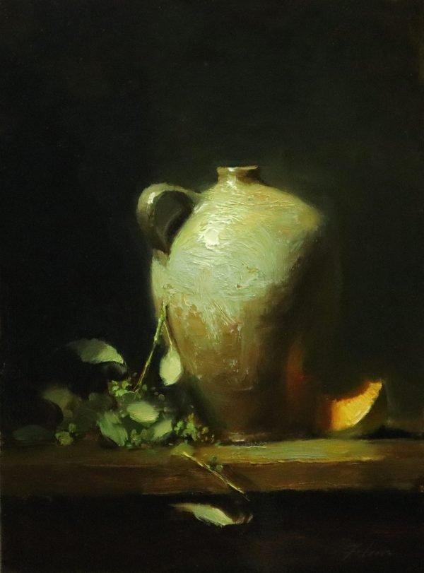 An original oil painting of a still life titled Salt Glazed Jar and Cantaloupe by Kelli Folsom