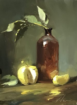 An original oil painting of a still life titled Amber Glow and Apples by Kelli Folsom