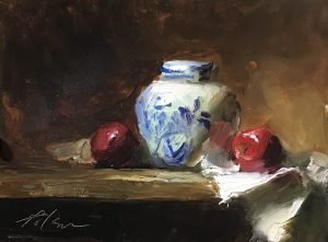 An original oil painting of a still life titled Blue and White Jar and Apples by Kelli Folsom