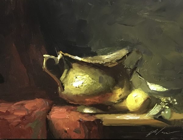 An original oil painting of a still life titled Brass and Lemon by Kelli Folsom