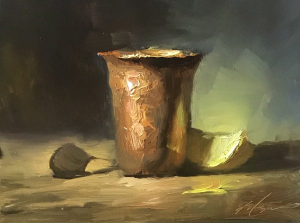 An original oil painting of a still life titled Copper Cup and Lemon by Kelli Folsom