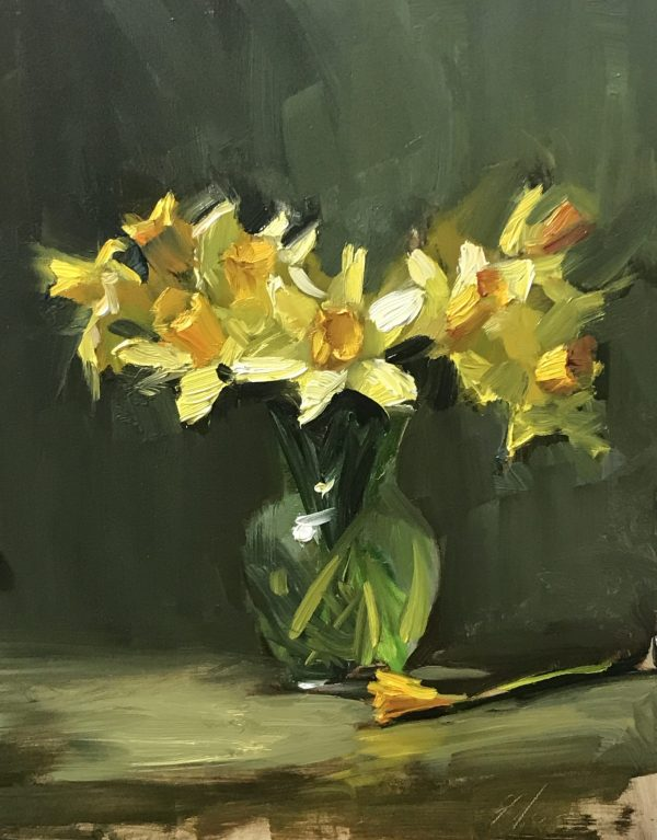 An original oil painting of a still life titled Daffodils by Kelli Folsom