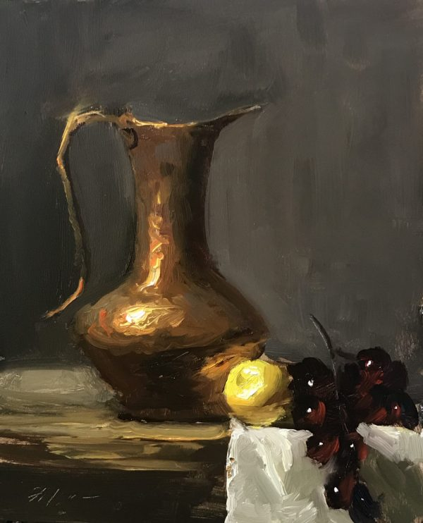 An original oil painting of a still life titled Elegant Copper Pitcher by Kelli Folsom