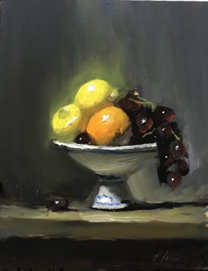 An original oil painting of a still life titled Fruit Bowl by Kelli Folsom